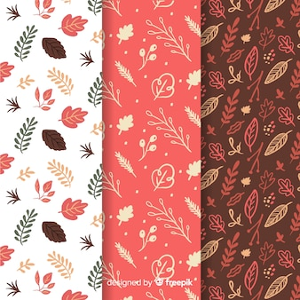 Conjunto de patrones de otoño dibujados a mano
