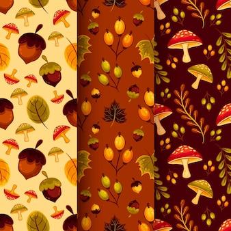 Conjunto de patrones de otoño de diseño plano