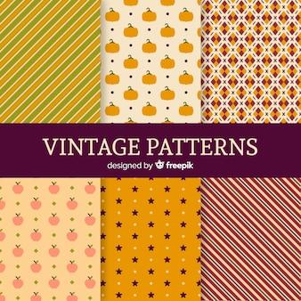 Conjunto de patrones de otoño estilo vintage