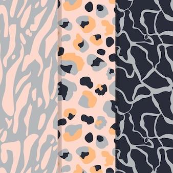 Conjunto de patrones de piel de animal moderno