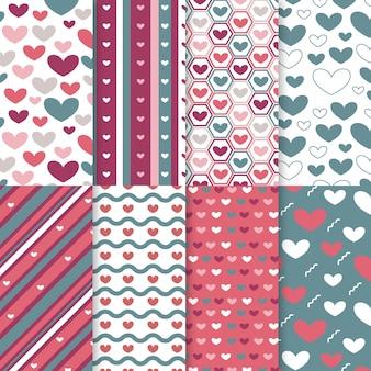 Conjunto de patrones planos del día de san valentín