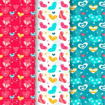 Conjunto de patrones planos de san valentín