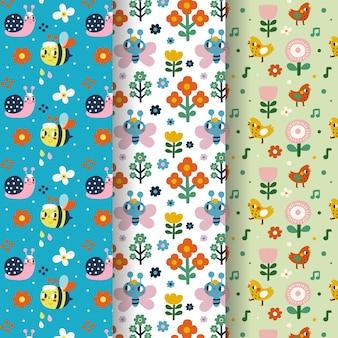 Conjunto de patrones de primavera dibujados a mano