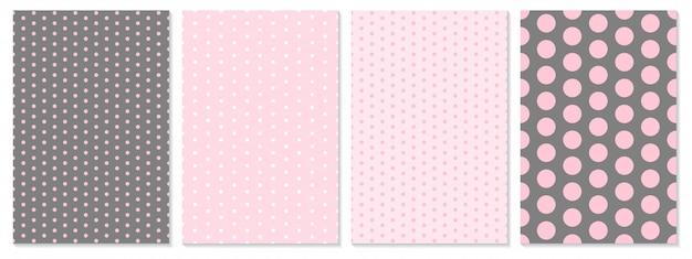 Conjunto de patrones de puntos. fondo de bebé color rosa. ilustración. patrón de lunares