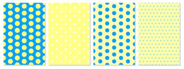 Conjunto de patrones de puntos. fondo de bebé ilustración. colores azules amarillos. patrón de lunares
