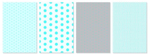 Conjunto de patrones de puntos patrón de lunares de color azul de fondo de bebé.