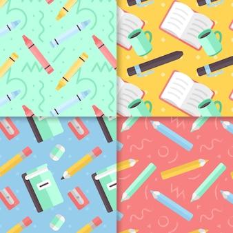 Conjunto de patrones de regreso a la escuela de diseño plano