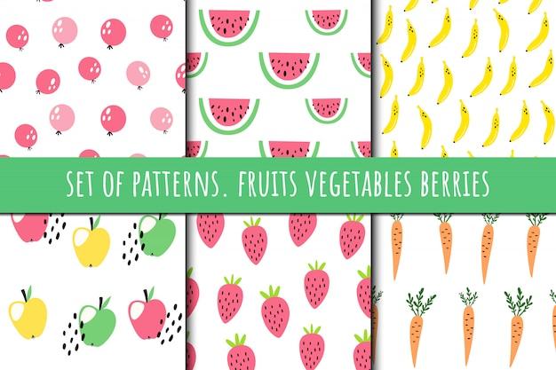 Conjunto de patrones sobre frutas y verduras.