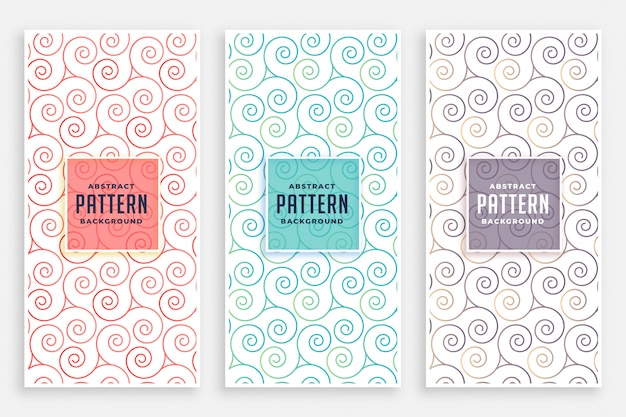 Conjunto de patrones swirly de tres colores.