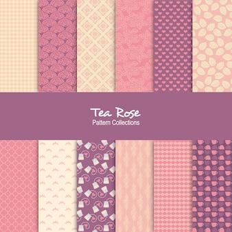 Conjunto de patrones de té rosa