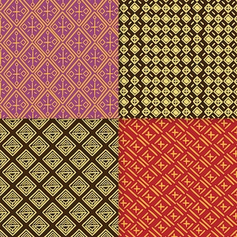 Conjunto de patrones tradicionales de songket.
