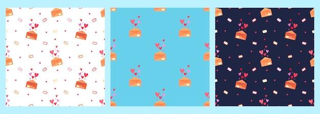 Un conjunto de patrones vectoriales con cartas de amor en sobres y corazones sobre un fondo azul.
