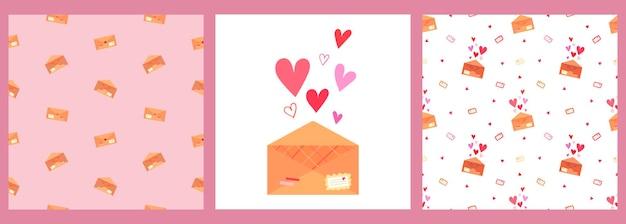 Un conjunto de patrones vectoriales y un cartel con cartas de amor en sobres y corazones sobre un fondo rosa y blanco