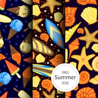 Conjunto de patrones de verano. estilo de dibujos animados.
