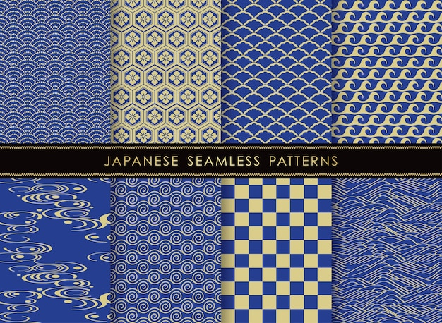Conjunto de patrones vintage vector transparente japonés
