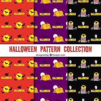 Conjunto de patrones vivos de halloween