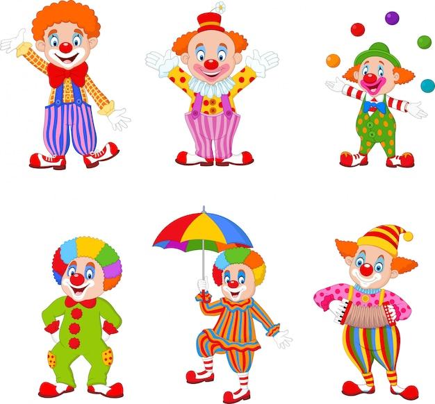 Conjunto de payasos felices de dibujos animados en diferentes acciones