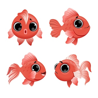 Conjunto de peces de colores de dibujos animados lindo aislado