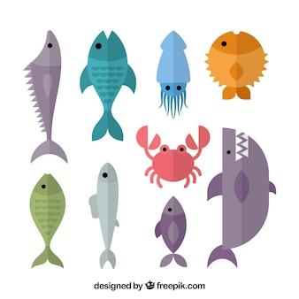 Conjunto de peces coloridos en estilo plano
