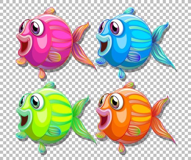 Conjunto de peces de diferentes colores con personaje de dibujos animados de ojos grandes sobre fondo transparente