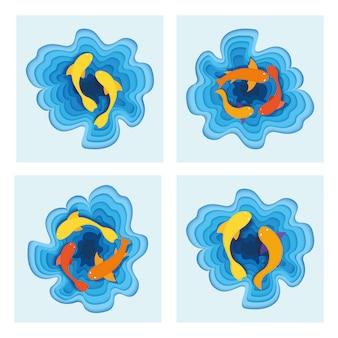 Conjunto de peces tropicales mar, océano plano minnow, concepto de corte de papel ilustración vectorial. los peces de agua salada nadan en la playa.