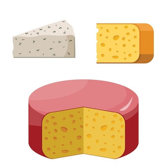 Conjunto y pedazo de cabaña del queso aislado en blanco. leche de productos lácteos. alimentos orgánicos saludables.