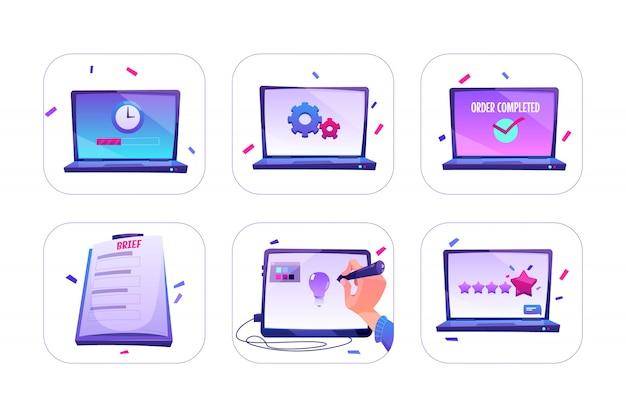 Conjunto de pedido en línea, diseñador crea idea en tableta gráfica, calificación o comentarios de los clientes con cinco estrellas en la pantalla del portátil, proceso de trabajo.