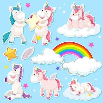 Conjunto de pegatina de unicornio.