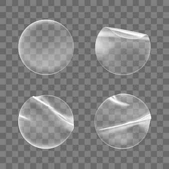Conjunto de pegatinas adhesivas redondas transparentes aislado.