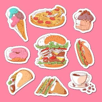 Conjunto de pegatinas aisladas de comida rápida