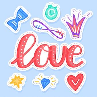 Conjunto de pegatinas de amor colección manuscrita en estilo de dibujos animados.
