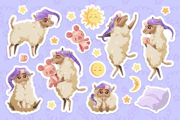 Conjunto de pegatinas de animales de dibujos animados de oveja linda en gorro de dormir