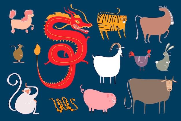 Conjunto de pegatinas de animales del zodíaco chino sobre fondo azul