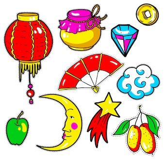 Conjunto de pegatinas de año nuevo chino, pins, parches en el cómic de los años 80-90.