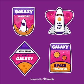 Conjunto de pegatinas astronómicas femeninas coloridas