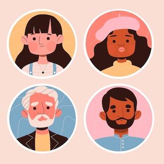 Conjunto de pegatinas de avatar de personas creativas