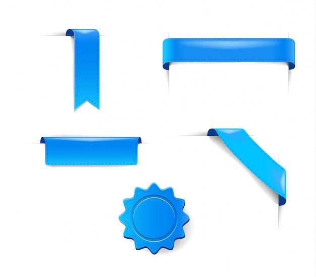 Conjunto de pegatinas azules, etiquetas y etiquetas cintas publicitarias de colección