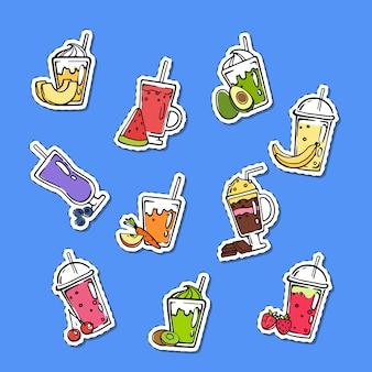 Conjunto de pegatinas de batido de doodle