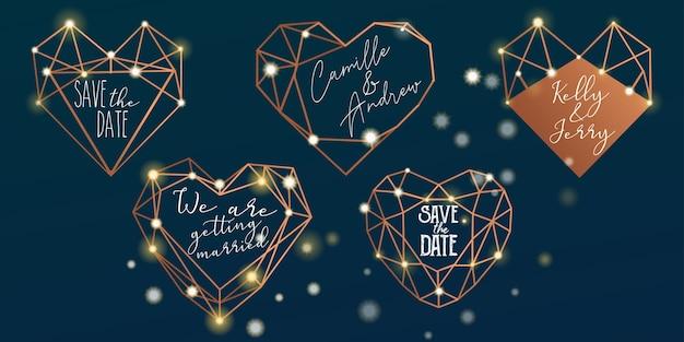 Conjunto de pegatinas de boda poligonal