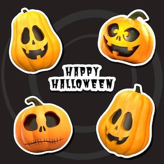 Conjunto de pegatinas de calabaza de halloween ilustración de vctor Vector Premium