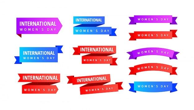 Conjunto de pegatinas de cintas del día internacional de la mujer