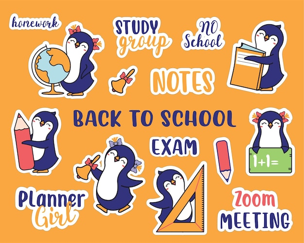 El conjunto de pegatinas para la colección de regreso a la escuela handdrawn de animales y citas escolares los pingüinos y la frase