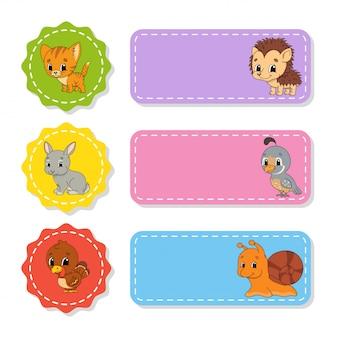 Conjunto de pegatinas de colores con lindos personajes.