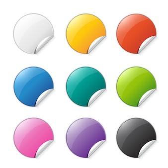 Conjunto de pegatinas de colores con lugar para texto.