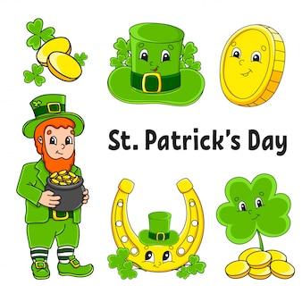 Conjunto de pegatinas de colores para niños. día de san patricio. duende con una olla de oro, moneda de oro, trébol, sombrero, herradura de oro.
