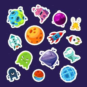 Conjunto de pegatinas de colores planetas y naves de dibujos animados de colores