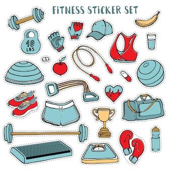 Conjunto de pegatinas coloridas de deporte y fitness de garabatos dibujados a mano