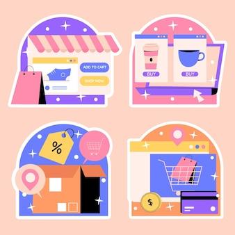 Conjunto de pegatinas de compras ingenuas