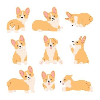Conjunto de pegatinas de corgi kawaii, mascotas divertidas y felices con cara linda sonriente, sentado, de pie y acostado en diferentes poses. colección de cachorros. dibujado a mano ilustración moderna de moda en estilo de dibujos animados planos