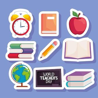 Conjunto de pegatinas del día mundial del maestro